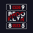Brooklyn, NYC, USA typography for t-shirt design. Sports graphics for apparel and athletic clothes, tee shirt print. Vector.