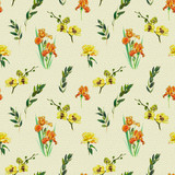 Floral seamless pattern with yellow orchid, orange iris and twigs. Art by markers. Imitation of watercolor drawing. - 211404414