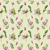 Floral seamless pattern with pink magnolias and twigs. Vintage art by markers. Imitation of watercolor drawing. - 211404438
