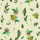 Floral seamless pattern with green Helleborus and twigs. Art by markers. Imitation of watercolor drawing. - 211404455