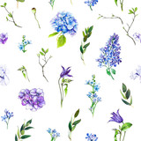 Multi-floral seamless pattern with different flowers. lllustration of a hydrangea, lilac, twigs and other flowers on a white background. - 211404467