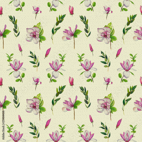Fototapeta Floral seamless pattern with pink magnolias and twigs. Vintage art by markers. Imitation of watercolor drawing.