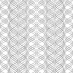 Wavy stripes, floral ornament, geometric seamless pattern, texture. Black on white. For wallpaper and fabrics.  illustration.