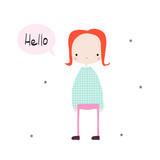 Cute little girl with word hello. Vector hand drawn illustration. - 211422869
