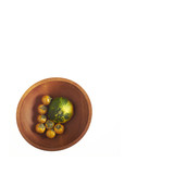 Orange Thai eggplants with green and yellow Summer Squash in wooden bowl isolated on white background with room for copy - 211432836
