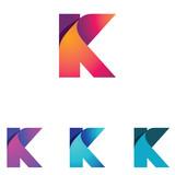 K Letter Folded Abstract Business Logo Symbol - 211438009