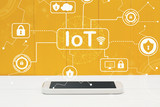 IoT security theme with smartphone on yellow wooden background - 211438274