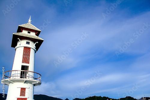 Plexiglas Vuurtoren White Lighthouse is prominent. The Bay's identity.