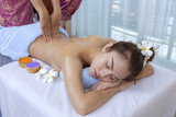 Asian woman having massage and spa salon Beauty treatment concept.