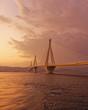 Quadro Greece, Rio Antirion suspended bridge in the twilight
