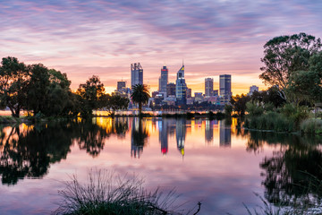 Vivid sunset over Perth City viewed from the South Perth foreshore. Perth, Western Australia, Australia. © beau