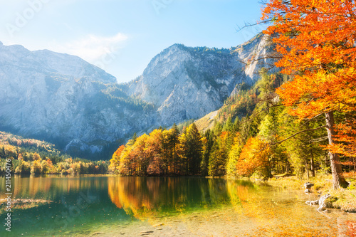 Plexiglas Herfst Colorful autumn trees on the shore of Hinterer Langbathsee lake in Alps mountains, Austria.