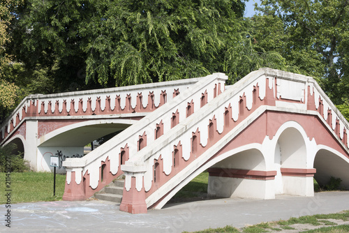 Stone staircase to nowhere in City Park, Budapest, Hungary. Built in the 1880s as a pedestrian bridge to cross over train tracks.