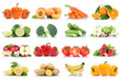 Früchte Obst und Gemüse Sammlung Apfel Tomaten Orange Bananen Erdbeeren Farben frische Freisteller freigestellt isoliert
