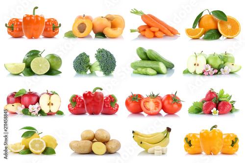 Früchte Obst und Gemüse Sammlung Apfel Tomaten Orange Bananen Erdbeeren Farben frische Freisteller freigestellt isoliert - 211458845