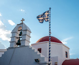 Greek orthodox church with red dome - 211460655