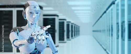 Leinwanddruck Bild White woman cyborg pointing her finger 3D rendering