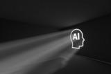 AI head rays volume light concept 3d illustration