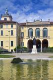 Milano, Palazzo Dugnani, Lombardia, Italia, Europa, Yellow Dugnani Palace and Fountain in Milan, Lombardy, Italy, Europe - 211466478