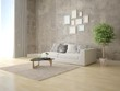 Mock up a trendy living room with a stylish light sofa and hipster background. - 211469096