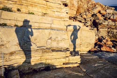 Aluminium Stenen Shadows of the photographer
