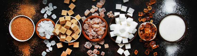 Set of different white and brown sugar in assortment, dark background, banner, top view © 5ph