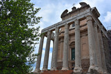 Rome,  view and details of the archaeological area of the Roman Forums. Temple of Antoninus and Faustina.
