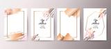 Gold, pink brochure, flyer, invitation, card - 211487690