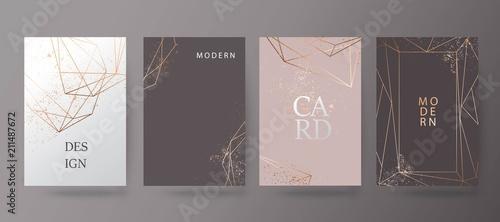Gold, pink brochure, flyer, invitation, card