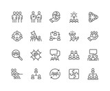 Simple Set of Team Work Related Vector Line Icons. Contains such Icons as Collaboration, Research, Meeting and more. Editable Stroke. 48x48 Pixel Perfect. - 211489451