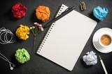 Neubeginn mit leerer Seite in einem Notizbuch