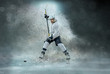 Leinwanddruck Bild - Caucasian ice hockey Players in dynamic action in a professional