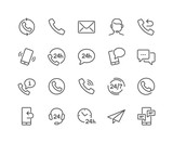 Simple Set of Contact Related Vector Line Icons.  Contains such Icons as Support, Chat, Callback and more. Editable Stroke. 48x48 Pixel Perfect. - 211494202