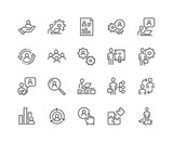 Simple Set of Business Management Related Vector Line Icons.  Contains such Icons as Inspector, Personal Quality, Employee Management and more. Editable Stroke. 48x48 Pixel Perfect. - 211494641
