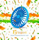 India independence day illustration. Indian symbol - Ashoka wheel, abstract flow waves and confetti in the colors of the indian national flag. Vector greeting illustration.