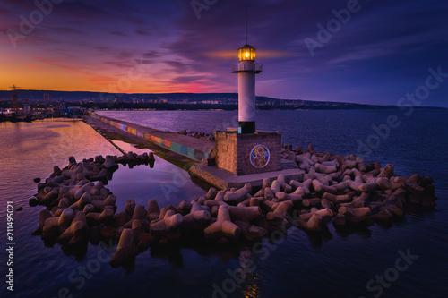 Fotobehang Zwart Aerial view of lighthouse at sunset in Varna, Bulgaria