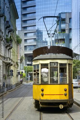 Aluminium Milan Milano, Tram Giallo, Italia, Milan, Yellow Streetcar, Italy