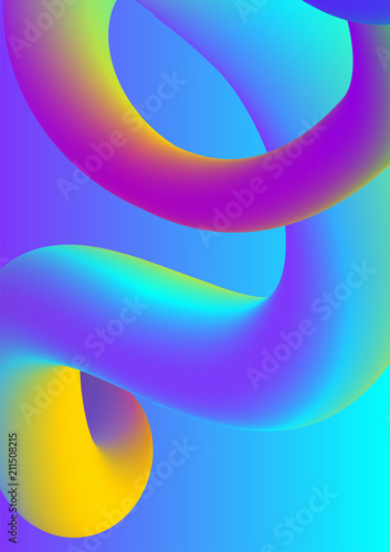 Abstract liquid colors background. Fluid shapes vector trendy gradients. Colorful graphic illustration. Geometric background molecule communication. - 211508215