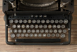 Top view of retro style typewriter in studio - 211512433