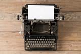 Top view of retro style typewriter in studio - 211512666