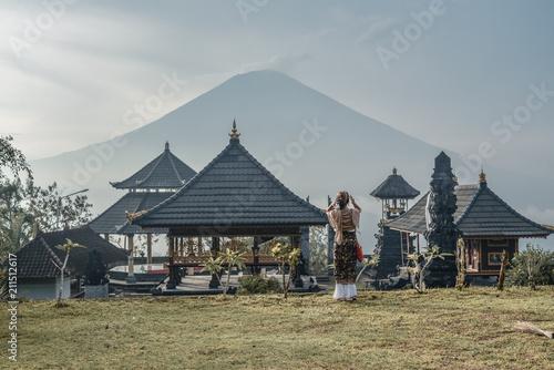 Fotobehang Bali Woman near Lempuyang temple in Bali, Indonesia.