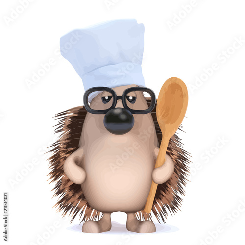 Vector 3d Hedgehog chef with spoon