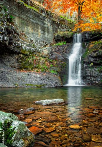 Plexiglas Herfst Waterfall in the forest in autum