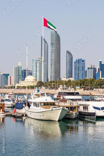 Fotobehang Abu Dhabi Abu Dhabi Skyline from the Marina Area.