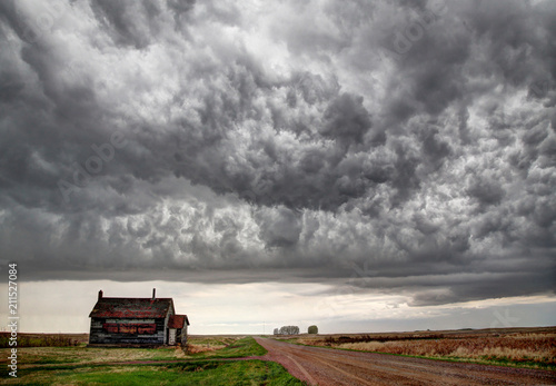 Fotobehang Zomer Prairie Storm Clouds Canada