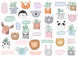 Vector set of cute doodle stickers with funny animals, text and house plants