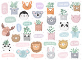 Vector set of cute doodle stickers with funny animals, text and house plants - 211528435