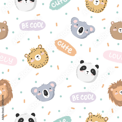 Tapeta Vector seamless baby pattern with animals and text