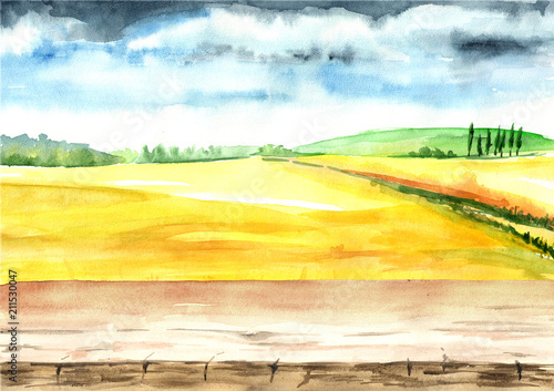 Summer rural landscape, Wheat field with blank board. Watercolor hand drawn illustration, background for your design