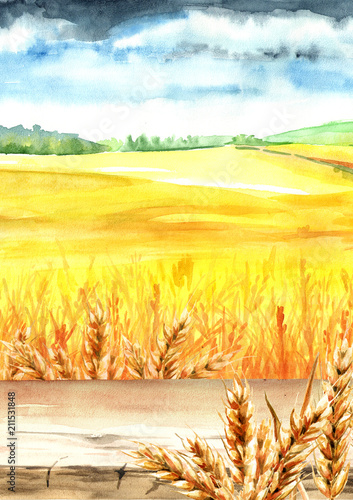 Fotobehang Geel Wheat field with blank board. Summer rural landscape. Watercolor hand drawn vertical illustration, background for your design
